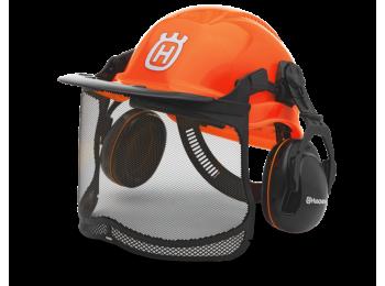 Шлем защитный Husqvarna Functional флуоресцентный с сеткой и наушниками, 576 41 24-01